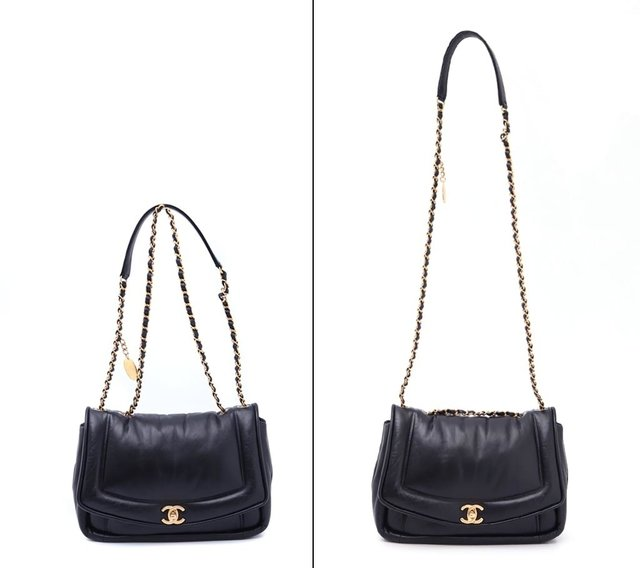Bolsa Chanel Original Black Puffy Lambskin Flap - Paris Brechó - Artigos de Luxo Seminovos