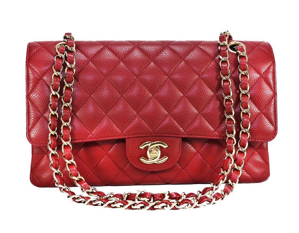 Bolsa De Mao Chanel : Bolsa chanel cl?ssica vermelha m?dia
