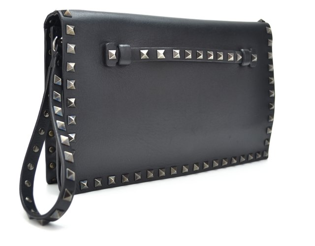 Clutch Valentino Black Nappa Leather Rockstud - loja online