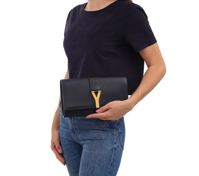 Clutch Yves Saint Laurent Black Leather Ligne Y - comprar online
