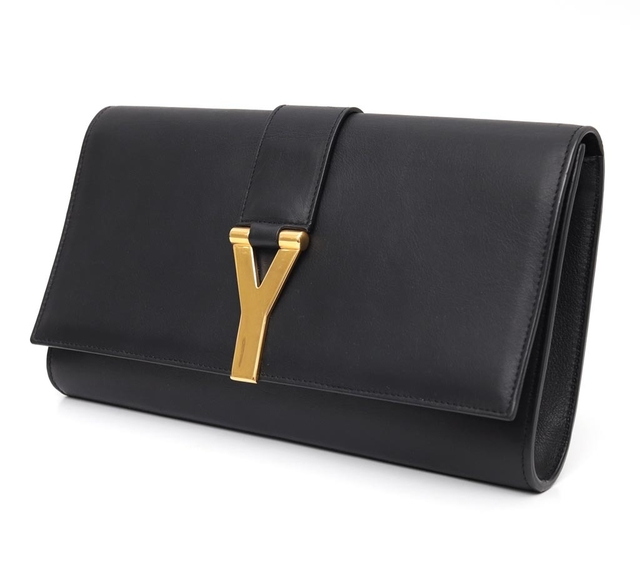 Clutch Yves Saint Laurent Black Leather Ligne Y - Paris Brechó - Artigos de Luxo Seminovos