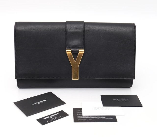 Clutch Yves Saint Laurent Black Leather Ligne Y