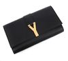 Clutch Yves Saint Laurent Black Leather Ligne Y - loja online