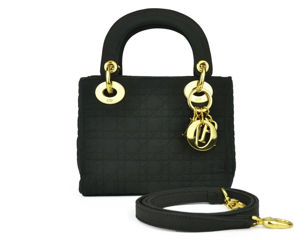 3943089e6d1 Bolsa Christian Dior Cannage Nylon Micro Lady Dior