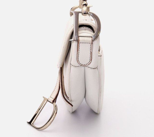Christian Dior Calfskin Saddle Bag White - loja online