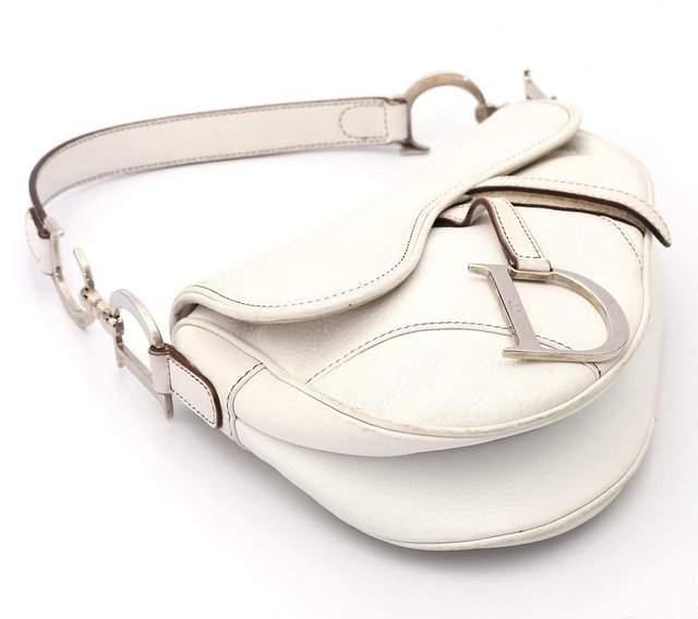 Christian Dior Calfskin Saddle Bag White - Paris Brechó - Artigos de Luxo Seminovos