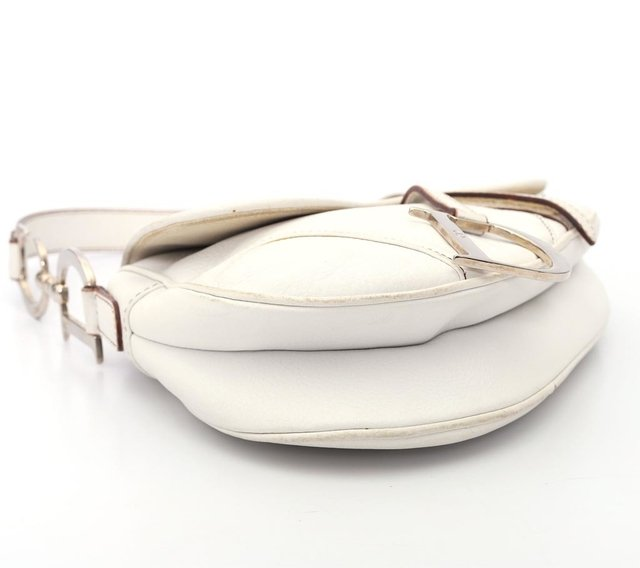 Christian Dior Calfskin Saddle Bag White
