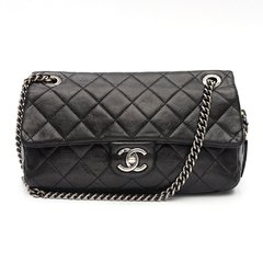 Bolsa CHANEL Aged Calfskin Medium Easy Flap Preta