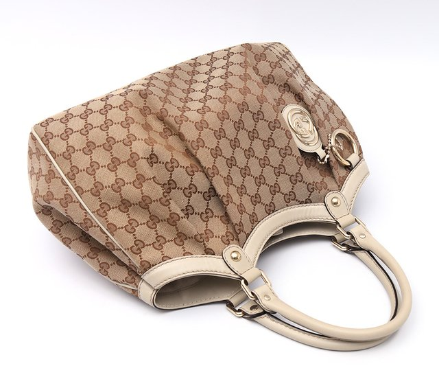 Bolsa Gucci Sukey Media Beige/White na internet