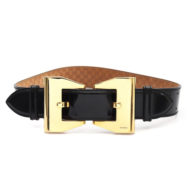 Cinto Gucci Double Buckle Patent Tam 80