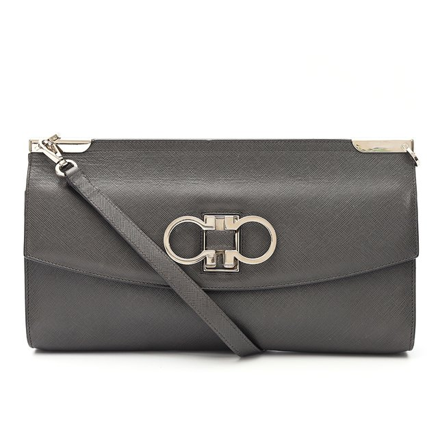 Clutch Salvatore Ferragamo Gancio Shoulder Saffiano