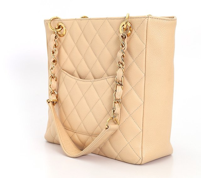Bolsa Chanel Beige Quilted Caviar Leather Petite Shopping Tote na internet