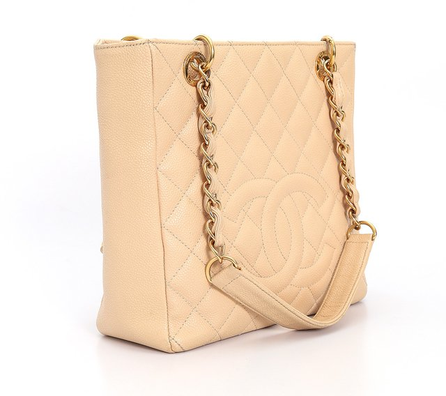 Bolsa Chanel Beige Quilted Caviar Leather Petite Shopping Tote - loja online