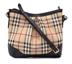 Bolsa Burberry Brown Haymarket Check Hartham Crossbody