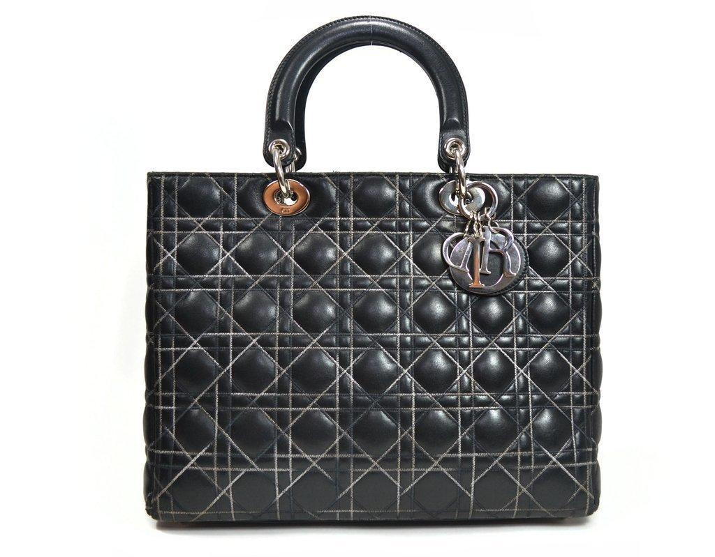 """fedb30fc6fb Bolsa Lady Dior de couro preta pespontos """"Cannage"""" em degrade"""