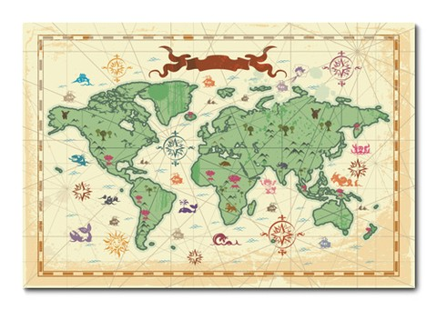 Placa Decorativa - Mapa Mundi - 0594plmk