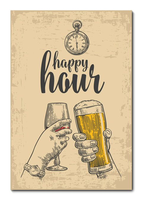 Placa Decorativa - Happy Hour - 0659plmk