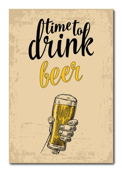 Placa Decorativa - Time to Drink Beer - 0661plmk