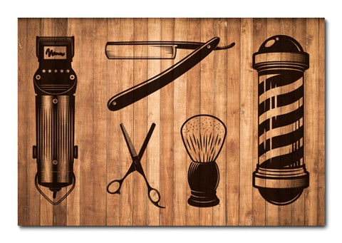 Placa Decorativa - Barber Shop - Barbearia - 0825plmk