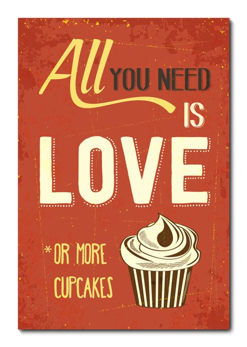 Placa Decorativa - All You Need Is Cupcakes  - 0915plmk