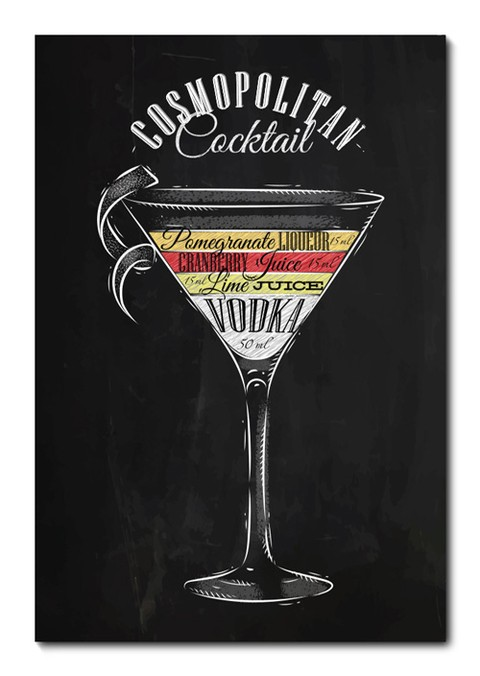 Placa Decorativa - Drink Cosmopolitan - 0961plmk