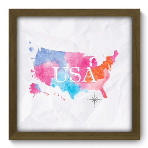 Quadro Decorativo - Mapa Estados Unidos - 165qdmm