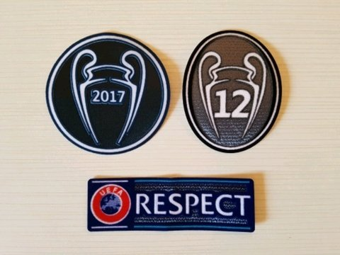 Parches Real Madrid Champions (Respect + 2017 + 12 copas)