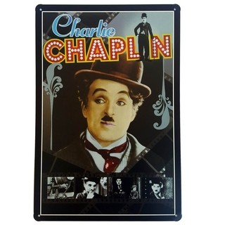 Placa de Metal Decorativa Charlie Chaplin