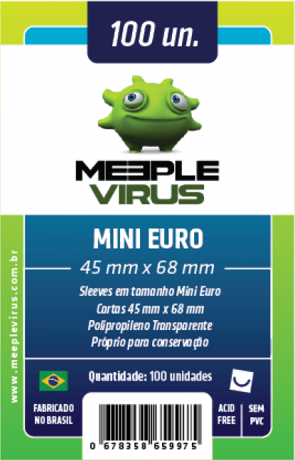 Sleeve Meeple Virus Mini Euro 45 x 68 mm (100 unidades)