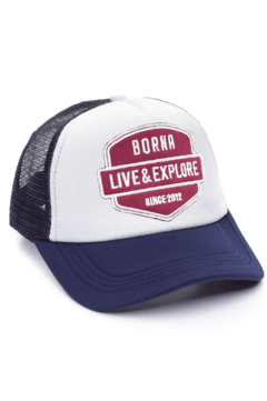 GORRA TRUCKER - LIVE & EXPLORE BORDO - AZUL