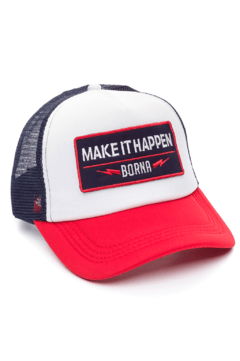 GORRA TRUCKER -  MAKE IT HAPPEN - AZUL/ROJO