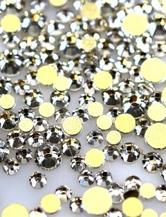 Strass Cristal AB  Prata   - Base ouro-  3mm