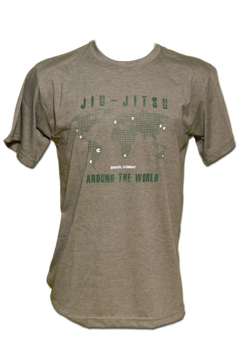 T-shirt Jiu-Jitsu Around the World Verde Mescla