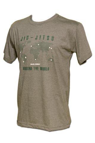T-shirt Jiu-Jitsu Around the World Verde Mescla - comprar online