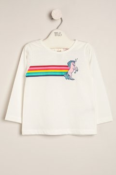 Remera estampada y bordada Unicornio