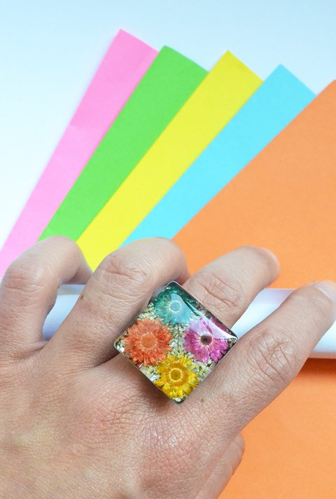 Ring Square multicolor-Floresse