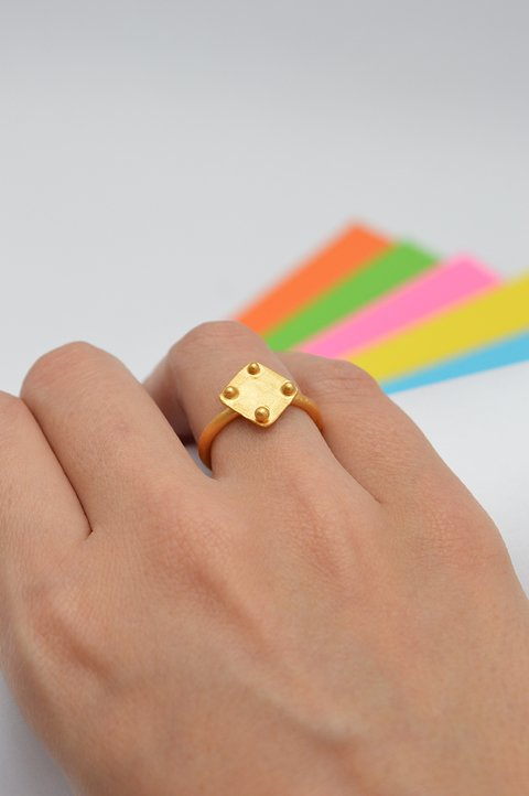 Square Ring Sustainable jewelry-Lecat on internet