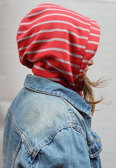 Hoodie neck warmer Red Stripes - La Casa Jaguar - buy online