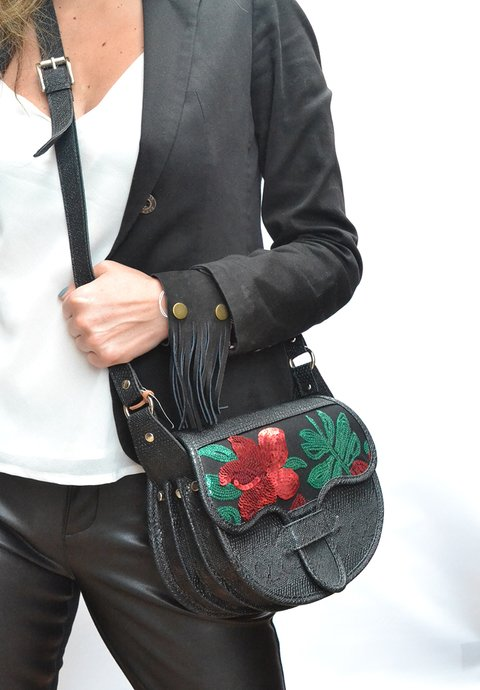 Handbag Sequins Black carriel with flowers-Pagamento - Currucutú|Accesorios latinoamericanos hechos a mano