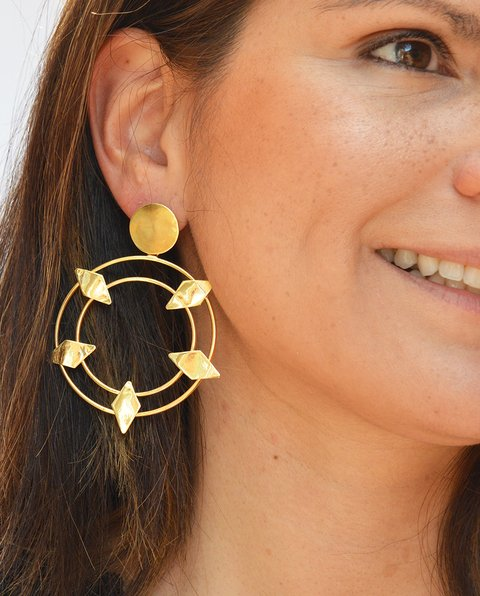 Earrings Ovals and rhombus - María Angulo Joyería