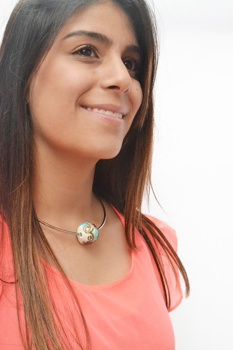 Collar Flores acero plateado intercambiable-Efecto Glass jewelry
