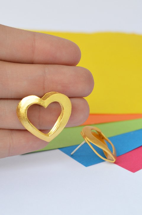 Studearrings Double heart - Tissu - buy online