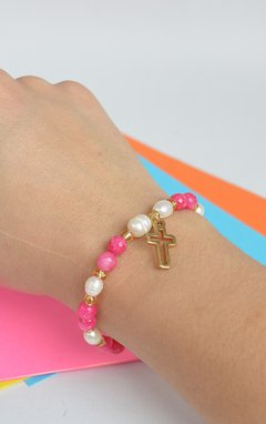 Bracelet Agate little Cross - Larisa Accesorios