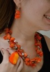 Necklace/Earrings Sunset by the ocean Handmade-Artesano Currucutú