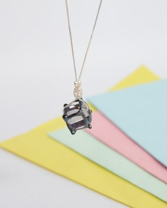 Collar Silver Flying Cube-Efecto Glass jewelry - comprar online