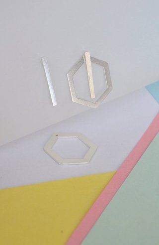 Earrings Double hexagon-Donella - online store