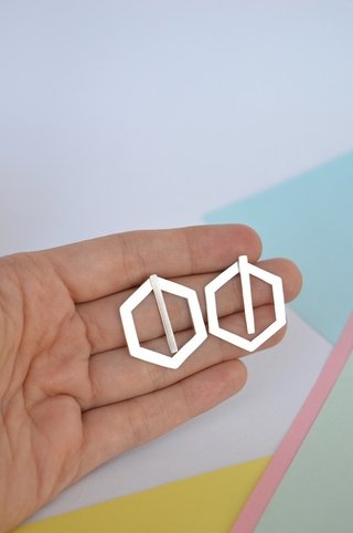 Earrings Double hexagon-Donella - Currucutú|Accesorios latinoamericanos hechos a mano