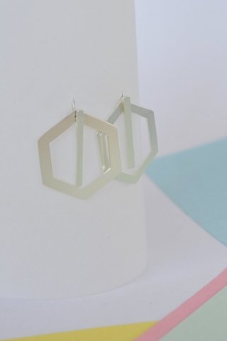 Image of Earrings Double hexagon-Donella