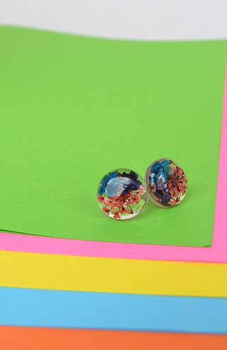 Stud earrings Blossom Medium Circles-Floresse - online store