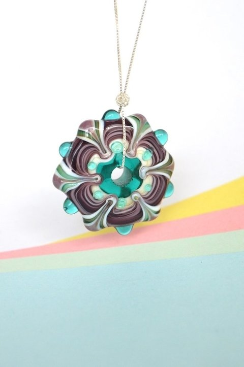 Necklace Silver Green Mandala-Efecto Glass jewelry